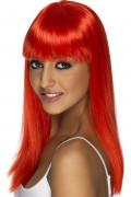 Peluca roja con glamour para mujer