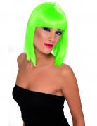 Peluca para mujer color verde fluorescente en forma de media melena cuadrada