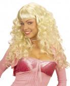 Perruque blonde longue boucl�e  femme