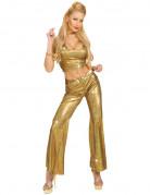 Pantal�n dorado estilo disco para mujer
