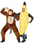 Disfraz de pareja de mono y pl�tano para adultos