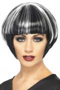 Peluca blanca y negra en forma de melena cuadrada, para mujer