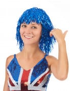 Perruque m�tallique bleue adulte