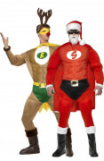 Muscular Santa and reindeer costumes for couple