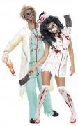 Disfraz de pareja de enfermera y m�dico zombies ideal para Halloween