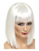 Peluca blanca en forma de media melena cuadrada con flequillo, para mujer