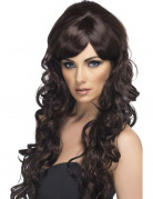 Peluca larga color casta�o para mujer con glamour y tirabuzones