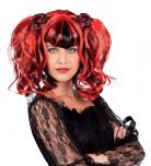 Peluca g�tica roja y negra para mujer