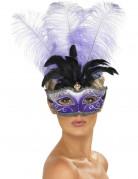 Vous aimerez aussi : Loup v�nitien violet avec grandes plumes noire et violette adulte