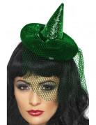 Mini sombrero de bruja verde para mujer