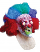 Masque int�gral clown brul� cheveux inclus adulte Halloween