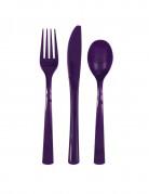 18 Assortiment couverts en plastique violets foncés