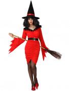 Disfraz 2 en 1 de bruja y diablesa roja para mujer