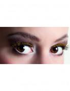 Kurze, k�nstliche Wimpern schwarz mit goldenen Pailletten