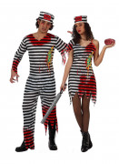 Disfraz de pareja de prisioneros zombi Halloween