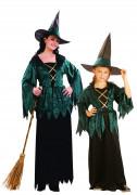 Disfraz de pareja de brujas verdes Halloween madre e hija
