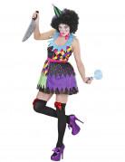 D�guisement clown terrifiant multicolore femme Halloween