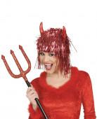 Peluca met�lica diablo rojo adulto Halloween