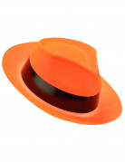 Chapeau gangster orange fluo adulte