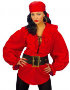 Chemise rouge pirate femme