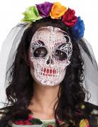 Masque et serre-tête coloré femme Dia de los muertos