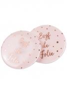 8 Badges EVJF de folie dorure rose gold 5 cm