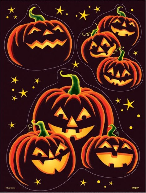 Black pumpkin stickers for Decoration fenetre halloween