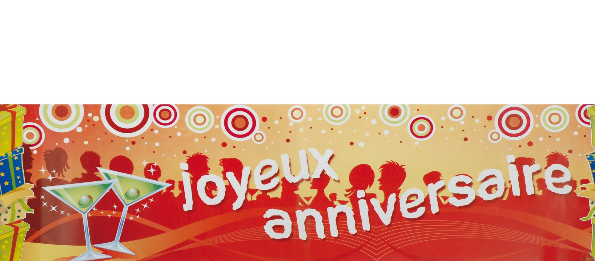 Joyeux anniversaire banner decorations and fancy dress for Decoration 50 ans homme