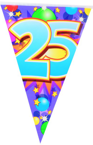 Guirlande fanions 25 ans achat de decoration animation for Decoration 25 ans