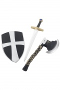 Medieval knight shield, sword and axe.