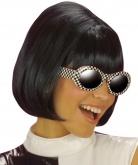 Peluca negra en forma de melena cuadrada para mujer