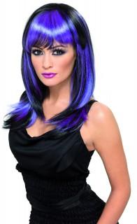 Perruque longue noire et violette femme