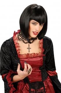 Perruque noire avec franges à pointe femme