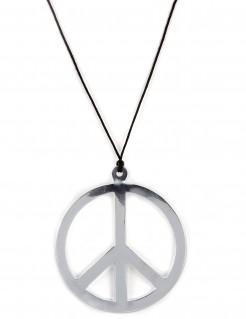 Collier hippie argenté géant