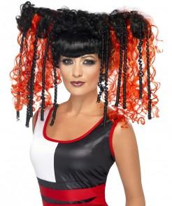 Perruque manga rouge et noire femme