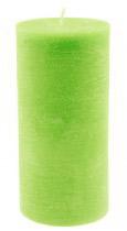 Bougie cylindrique longue rustique verte