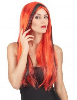 Perruque rouge mèches noires femme