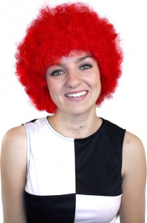 Perruque afro/ clown rouge basique adulte