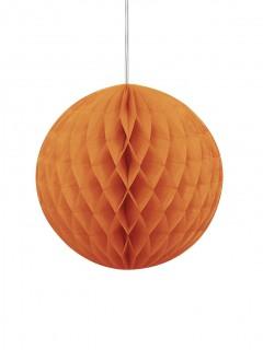 Suspension boule en papier alvéolée orange 20 cm