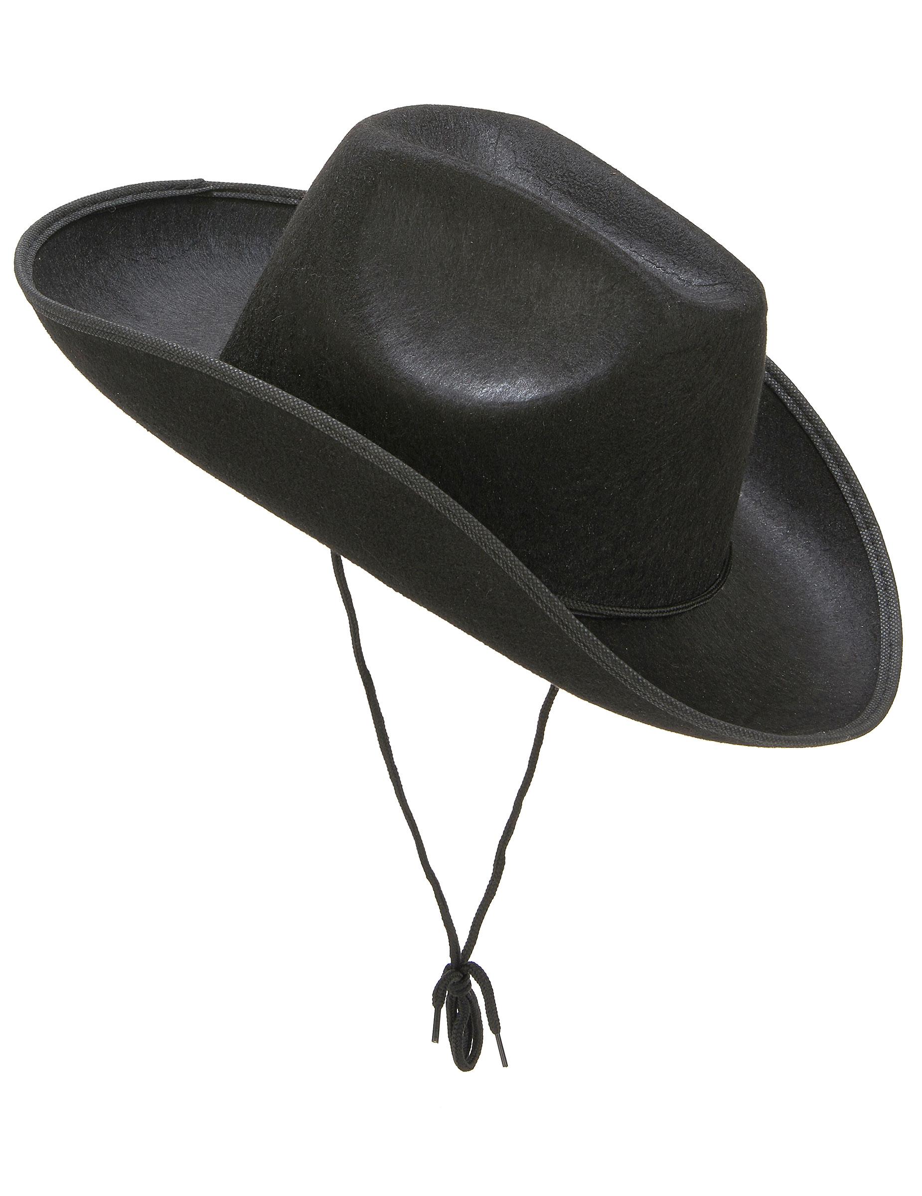 limpide en vue 100% de haute qualité profiter de prix bas Chapeau cowboy noir adulte avec cordelette