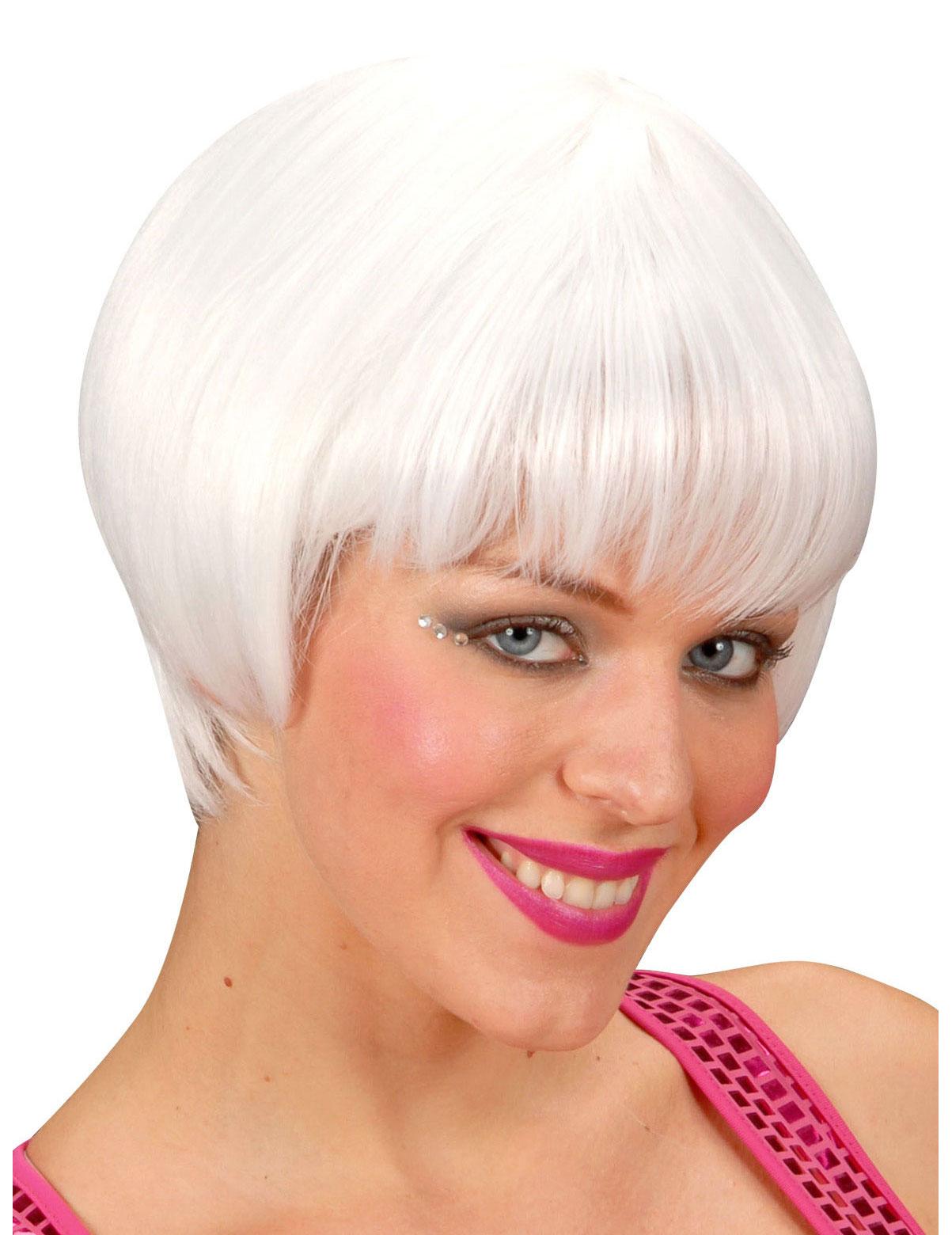 Perruque cabaret courte blanche femme : Deguise-