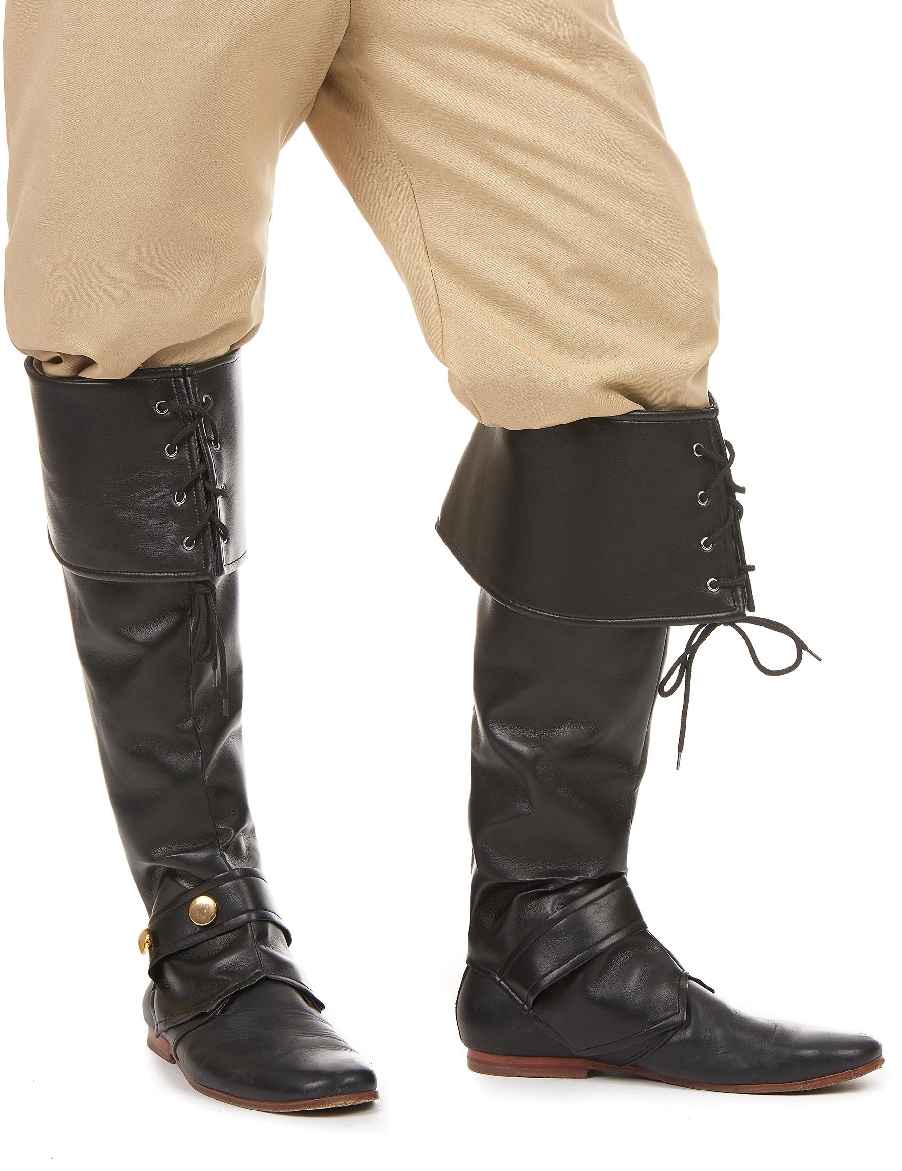 6b9bbdb3d0031f Sur-bottes noire simili cuir lacets et lanière cloutée adulte