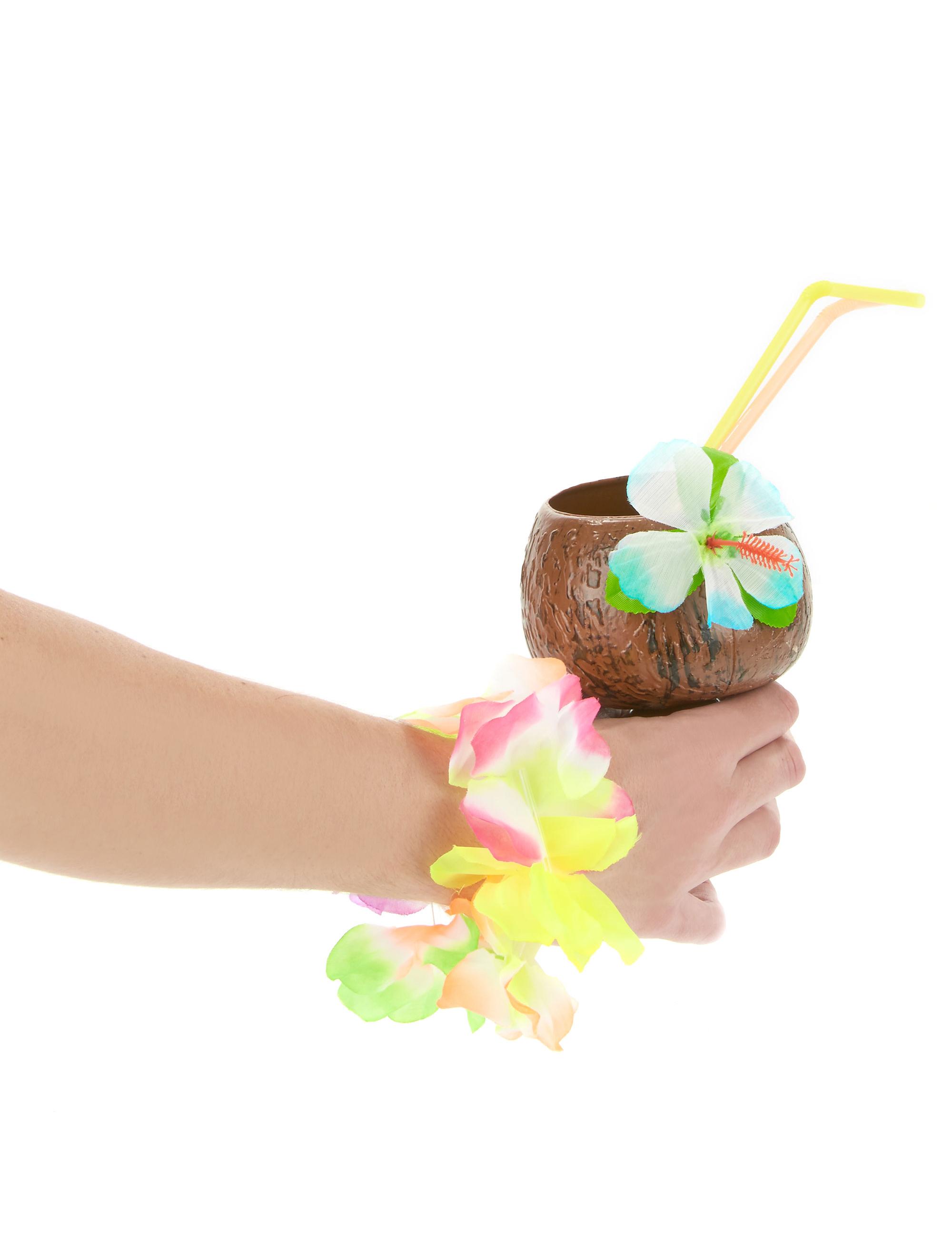 Noix De Coco Pour Decoration : Coupe hawaï noix de coco fleur bleue deguise toi achat