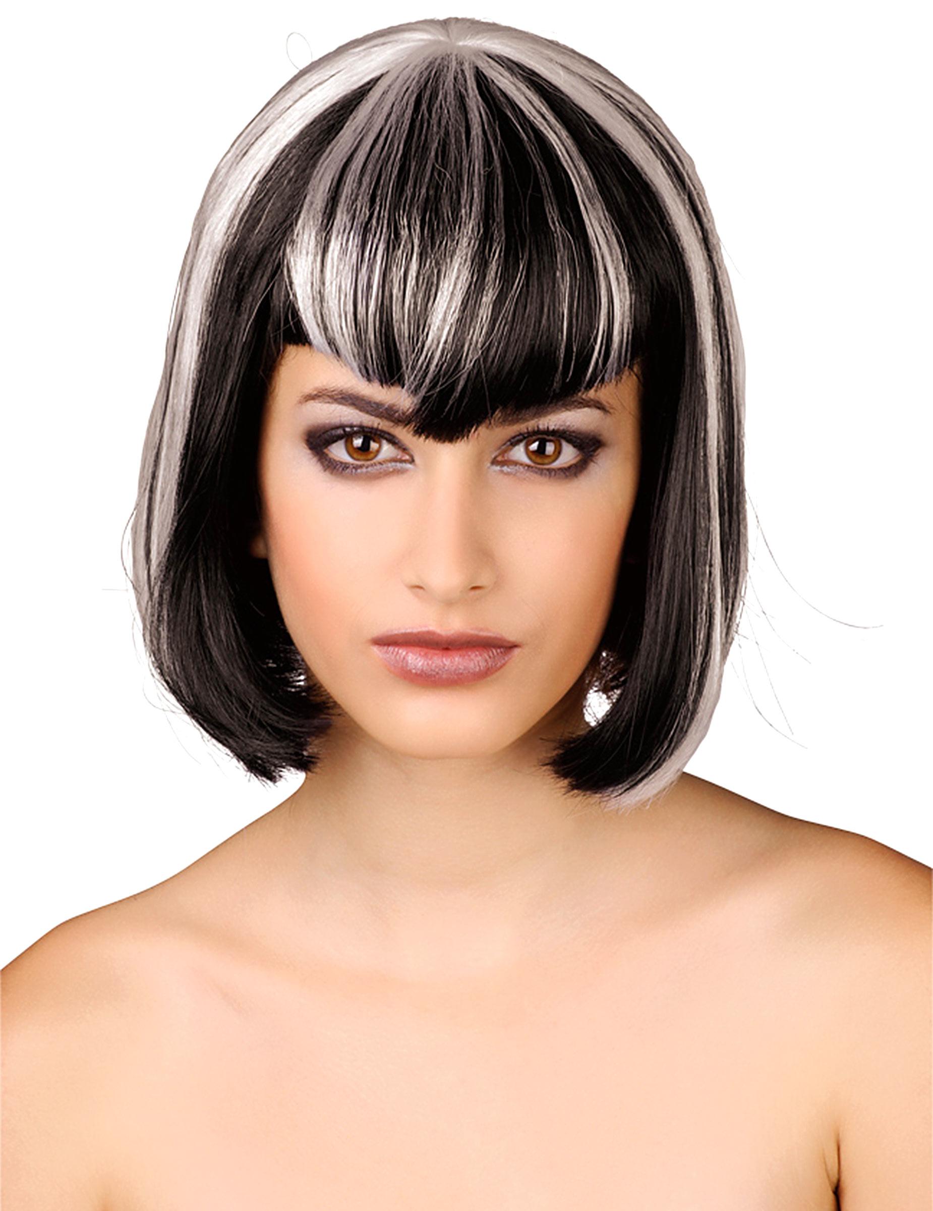 perruque noire et blanche femme deguise toi achat de perruques. Black Bedroom Furniture Sets. Home Design Ideas