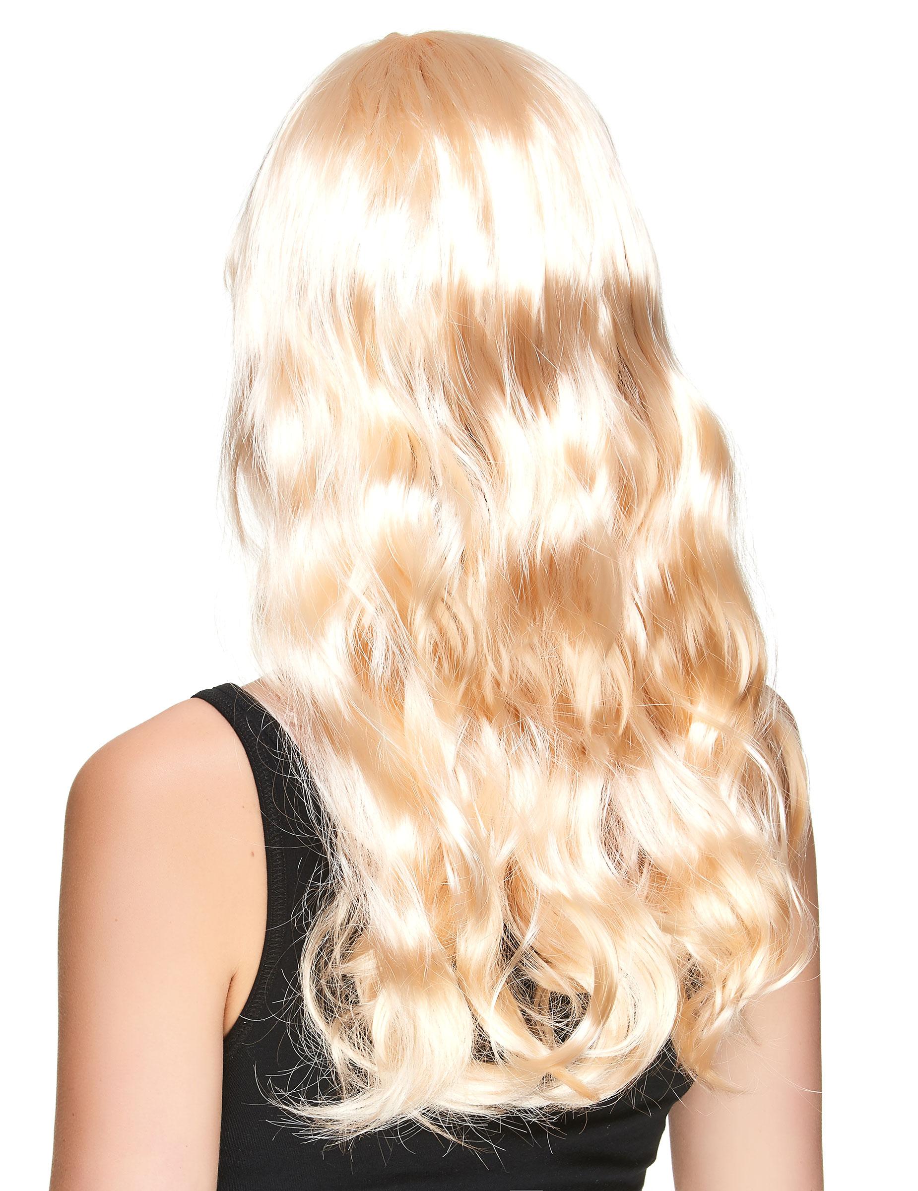 Perruque blonde dorée longue femme : Deguise-