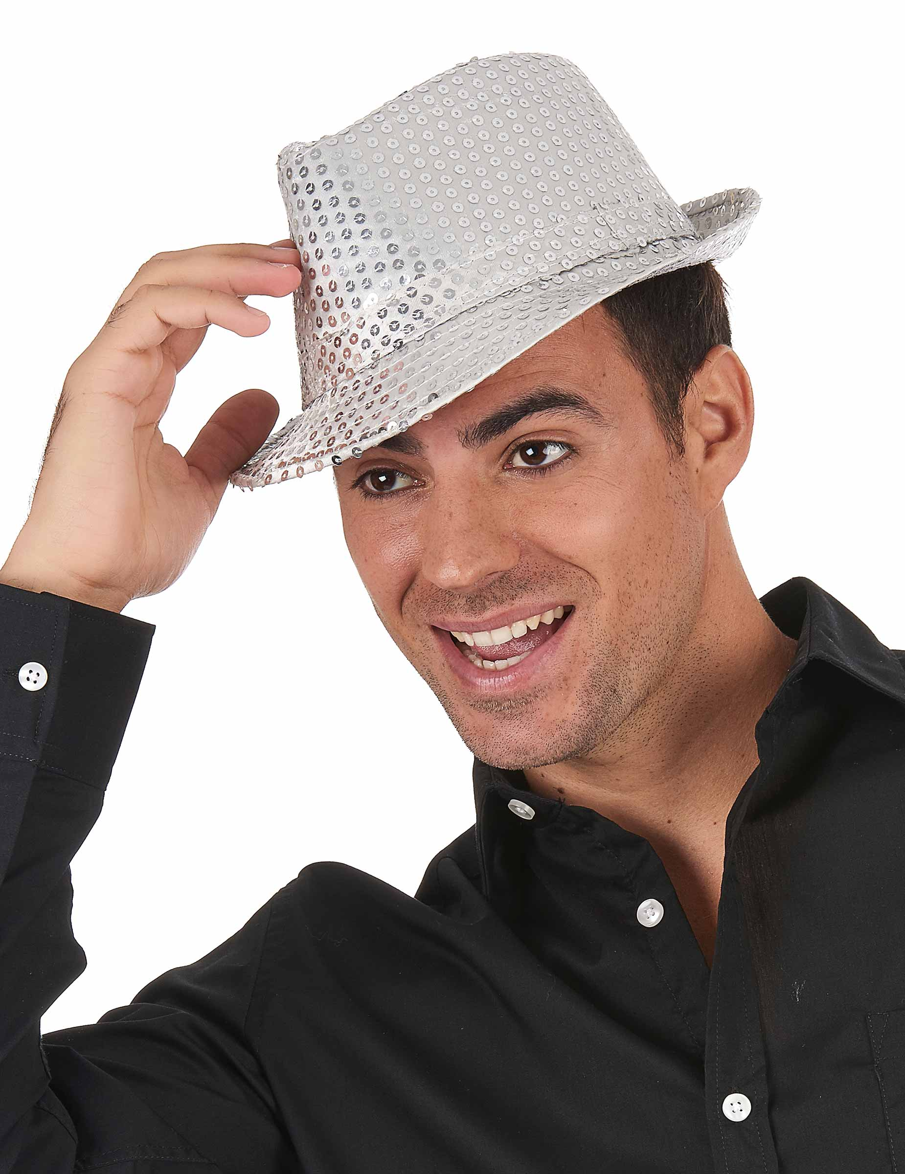 Chapeau borsalino à sequins argent adulte   Deguise-toi, achat de ... 3623d9d97cd
