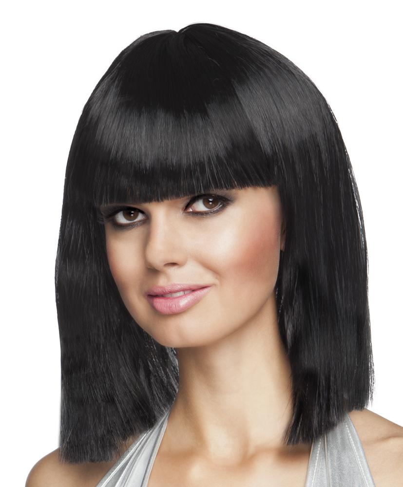 Perruque carré mi-long noire femme : Deguise-toi, achat de Perruques