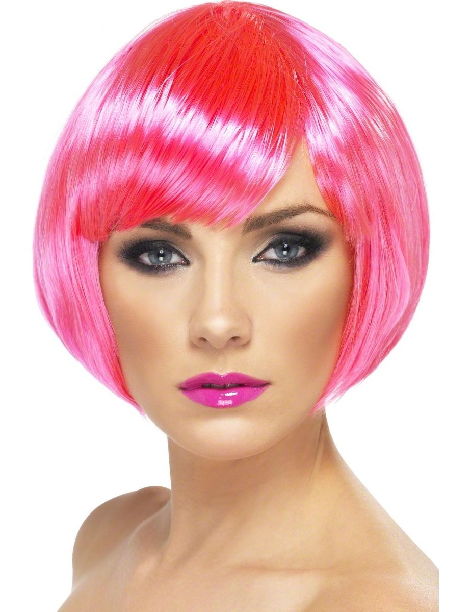 Perruque cabaret courte rose fluo femme :