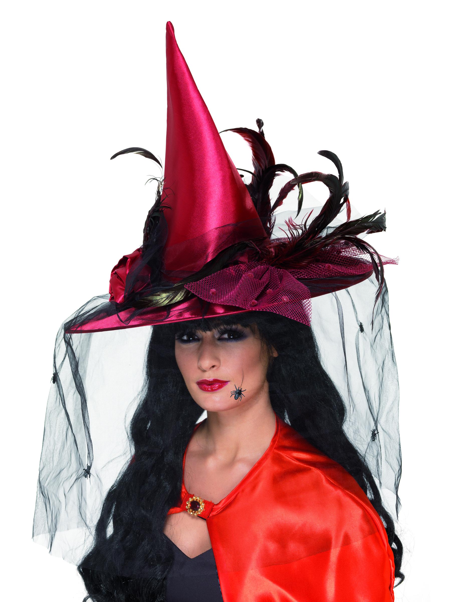 chapeau sorci re luxe rouge femme halloween deguise toi achat de chapeaux. Black Bedroom Furniture Sets. Home Design Ideas