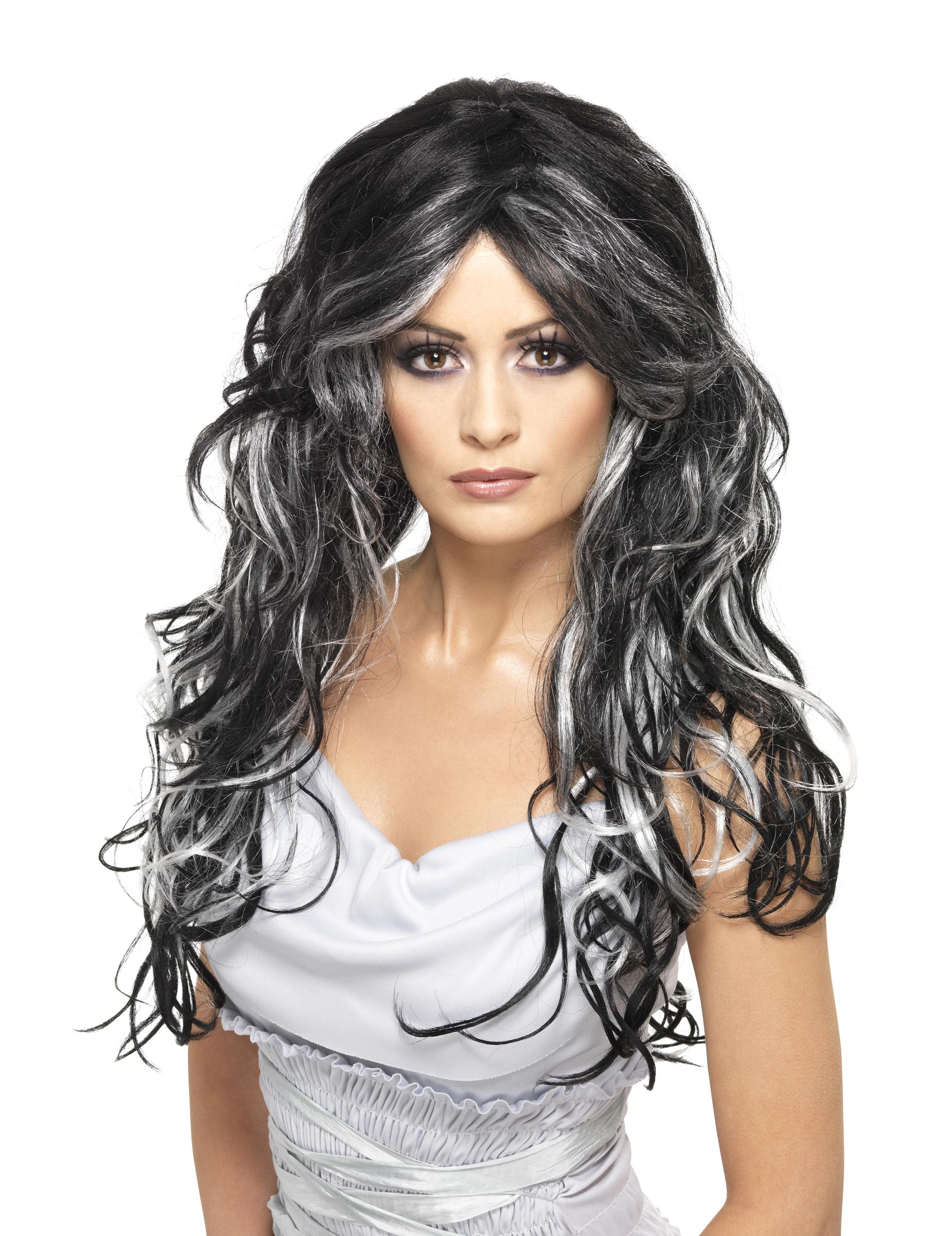 perruque noire avec m ches blanches femme deguise toi achat de perruques. Black Bedroom Furniture Sets. Home Design Ideas